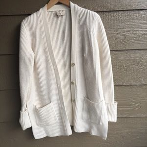 LOFT white cableknit oversized cozy sweater